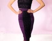 SALE Purple & Black lace pencil skirt