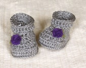 Ribbed Cuff Felt Flower Booties - 3 to 6 Months - Gray grey purple baby girl crochet flower baby booties baby gift