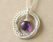 40th birthday gift amethyst necklace 4 interlocking circle necklace February birthstone jewelry  Lilia