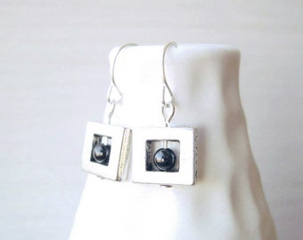 Contemporary Jewelry - Black Onyx, Modern Earrings, Geometric Jewelry, Silver, Stone, Simple, Dangle, Drop