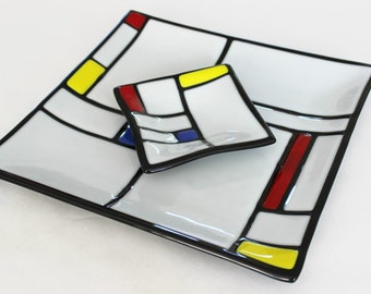 AS SEEN ON Great American Country Channel - Mondrian Style Fused Glass Chip and Dip, Glass Serving Set, Modern Art, Wedding Gift, Under 100
