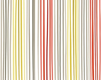Soho from Quilting Treasures - Full or Half Yard of Modern Yellow, Gray, Red, White Narrow Stripe