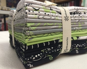 Mojito from Clothworks - 18 Fat Quarter Bundle Black Lime Green White Modern Flowers, Botanical, Geometric