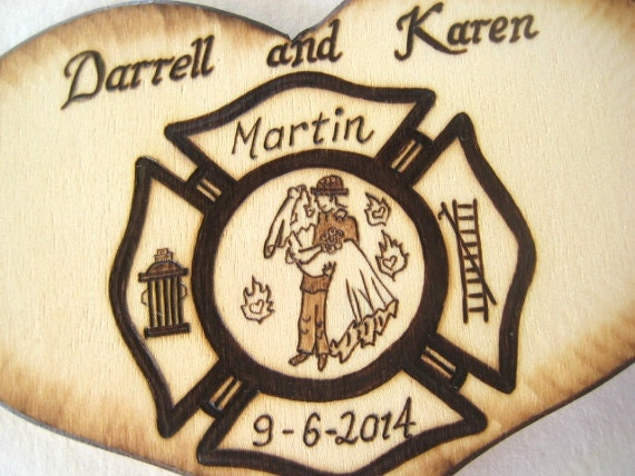 Firefighter Wedding Cake Topper Bride And Groom By RivdomArt