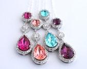 Bridesmaid Proposal Necklace, Bridal Party Proposal Gift, Bridesmaid Ask Gift, Maid Of Honor Gift Sister, Swarovski Teardrop Necklace Silver