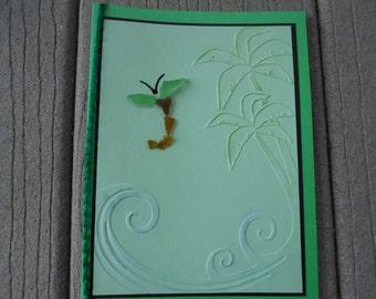 Sea Glass Greeting Card, Blank card, Dragon fly, Dragon fly sea glass