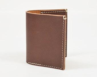 Veg Tanned Brown Leather Bi Fold Card Bill Wallet Handmade