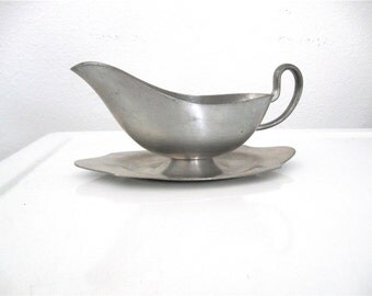 Antique Tavern Pewter Gravy Boat Americana Colonial American Decor 1800 British Decor