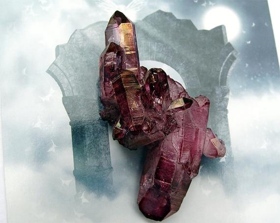 Garnet Aura Quartz NEW COLOR  Dark Vamp Red #10 Free Shipping by aurazencrystals