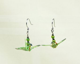 Green Origami Peace Crane Earrings, Eco-Friendly hand-made, Spring Leaves, paper gift