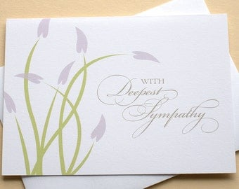 Sympathy Note Cards with Purple Flowers - Blank Inside - Folded Cards