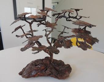 Mid Century brutalist metal bonsai sculpture