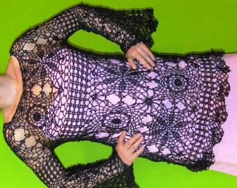 Lace  crochet black dress / tunic