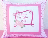 Birth Announcement Personalized Pillow- Name Pillowcase Embroidered Pillow Case Flower Frame Pillowcase