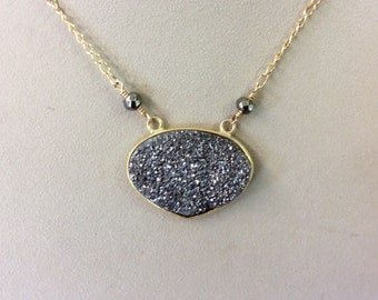 Black Druzy with Gold Filled Chain