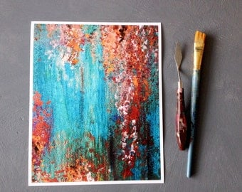 Industrial painting, modern PRINT, turquoise and rust ,contemporary art, abstract art