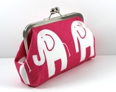 SALE Clutch in Hot Pink Lightweight Cotton Canvas Fabric with White Elephants FREE SHIPPING