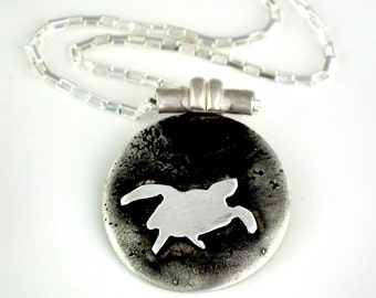 Round Sterling Silver Sea Turtle Necklace