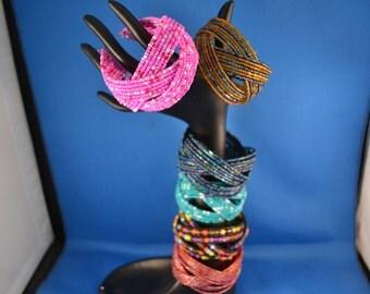 Free Shipping,Under 10, Seed Bead  Beaded Bracelet, Wide Bead Bracelet, Cuff Bracelet, Wide Bracelet, Braided Seed Bead Memory Wire Bracelet