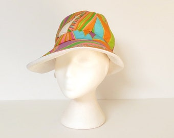 60s mod sun hat / 60s hat / psychedelic 60s summer fedora hat / groovy vintage 60s fashion hat / mod 1960s sunhat / womens sun hat / André