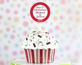 Personalized Our First Christmas Ornament - Christmas Stripe Cupcake #CUP228