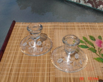 Pair of Vintage 24% Full Lead Crystal Hummingbird and Morning Glory Candle Holders - Avon
