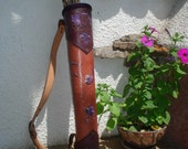 "Tooled Leather Back Quiver ""Purple Leafs"""