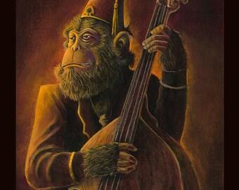 Frankie - Rockabilly Tiki Ape Chimp Music Bass Guitar 8x10 Print