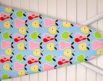 Ironing Board Cover in  Alexander Henry  fabric - Apples and Pears in Pink, Red,Lime Green and Lemon Yellow on Blue background