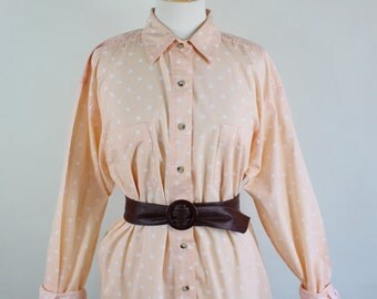 SALE - Vintage 80s Peach Polka Dots Cotton Womens Button Down Summer Shirt