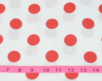 White With Red Polka Dot Cotton Fabric For Cute Dresses and Many Sewing Projects