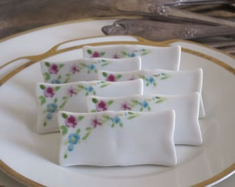 Floral Porcelain Name Card Place Setting Markers Vintage Placecard Markers Set Of 6 Place Setting Markers Dinner Party Markers Fine Dining
