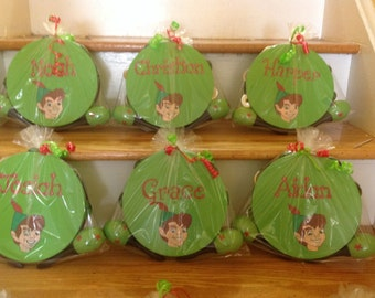 Personalized Peter Pan Musical Party Tambourines and Maracas- Gift wrapped- Party Favor, birthdays, communions  christenings- Gift wrapped .
