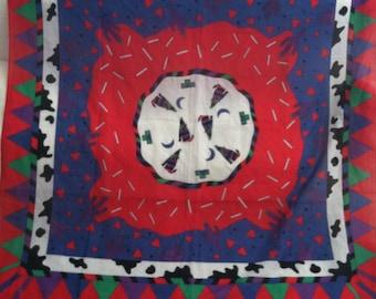Vibrant Sheer Cotton Vintage GINNIE JOHANSEN South Western Scarf