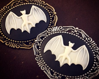 Bat Cameo Brooch / Pick your Finish