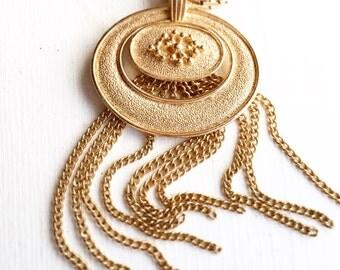 Avon Gold Tassel Retro Necklace EXTRA Long Vintage Chain
