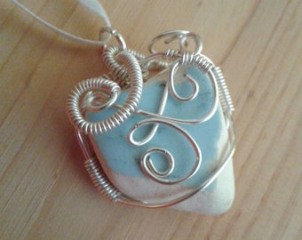 Sea pottery blue and white heart shaped pendant sale