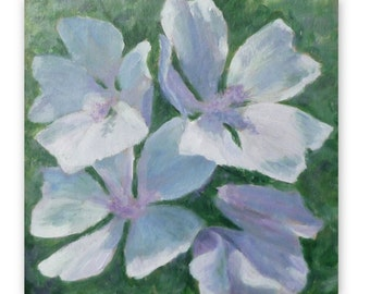 White mallows, original acrylic painting, flowers, 9 1/2 x 9 inches