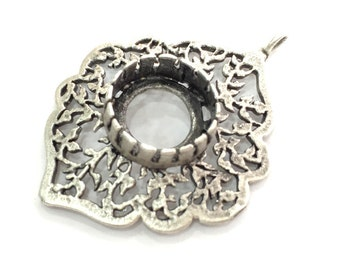 Antique Silver Plated Brass  Mountings , Blanks (14 mm blank) G3543