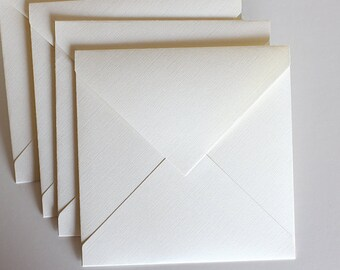 Ivory Linen Paper Square Envelope, Off-White, Beige, Various Sizes, Set of 12