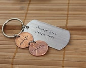 """Personalized, Hand Stamped Penny Keychain with Dog Tag """"Always your little girls"""""""