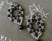 Swarovski Black Pearl and Silver Seed Bead Dangle Earrings