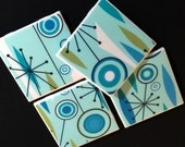Jetson's TURQUOISE Jet Set Space Age Atomic Starburst Tile Coasters - GREAT Gift Idea - Set of Four