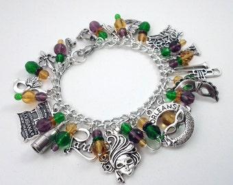 New Orleans Mardi Gras Charm Bracelet