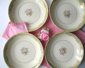 Vintage Paden City Yellow Pink Floral Soup Bowls Set of Four