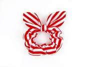 Bunny Ears Knot Bow Hair Scrunchie, Red and White Stripe
