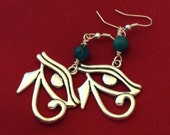Silver Colored Eye of Horus Earrings with Turquoise