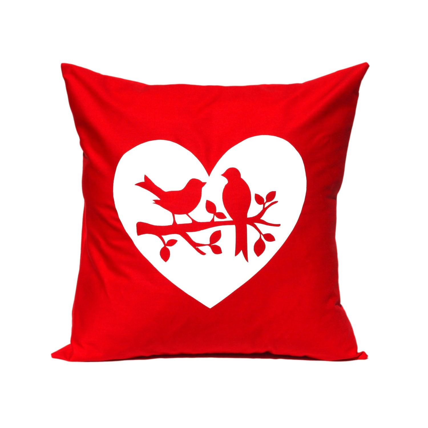 Throw Pillow Love Birds in RED Decorative by linneaswedishdesign