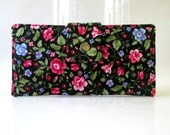 CLEARANCE - Handmade women wallet - black with bright pink small roses and blue flowers - Gift for her - ID clear pocket - Ready to ship