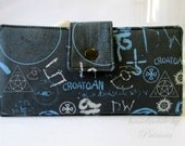 Handmade women wallet -Supernatural symbols - spells and objects - Custom clutch - cotton purse - Sigils